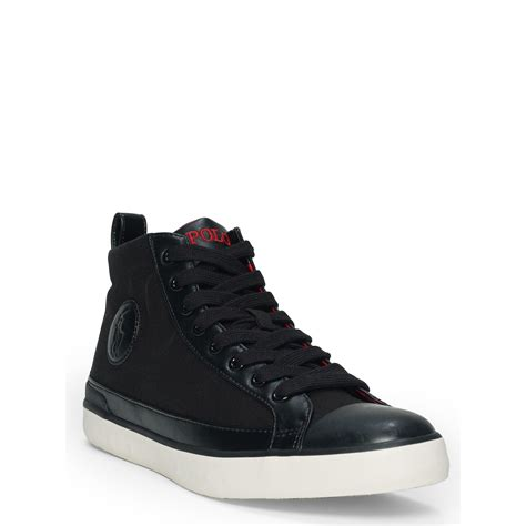 polo high top sneakers polo ralph canvas high top sneaker in black for