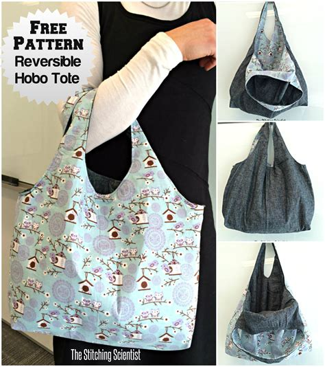sewing pattern reversible tote bag reversible hobo beginner bag pattern the stitching scientist