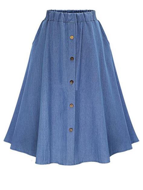 elastic waist denim tea skirt with buttons shein sheinside