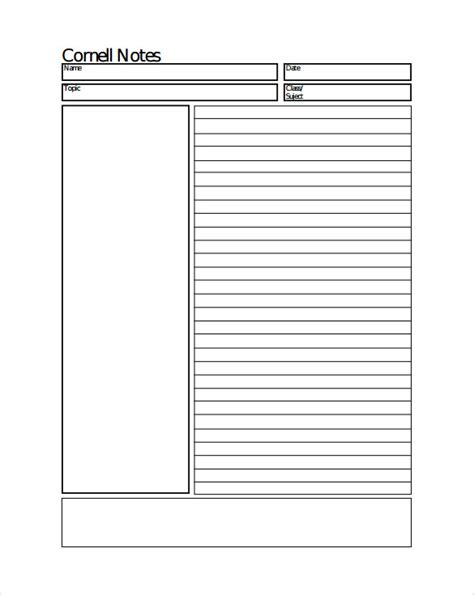 template of cornell notes 8 cornell notes paper templates sle templates