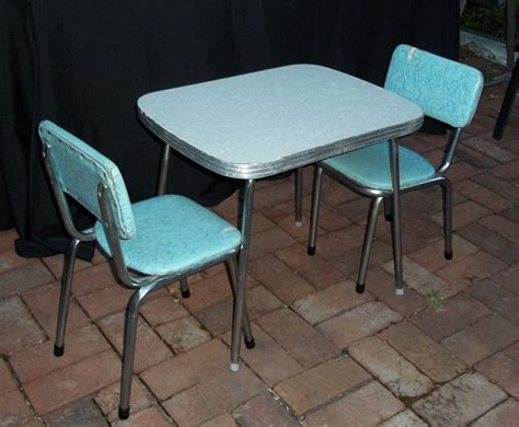 retro table and chairs vintage mid century chrome and vinyl play table and chair set