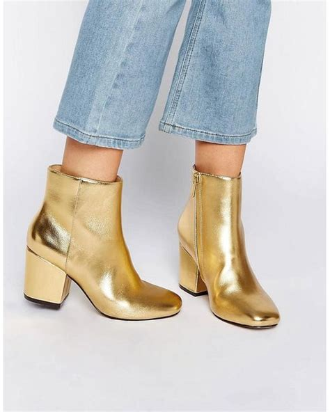 Scorah Pattullos Shoe Boot At Asos by Asos Rachelle Heeled Ankle Boots Gold In Metallic Lyst