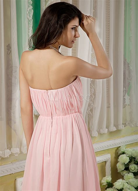 pink strapless floor length chiffon elastic woven satin