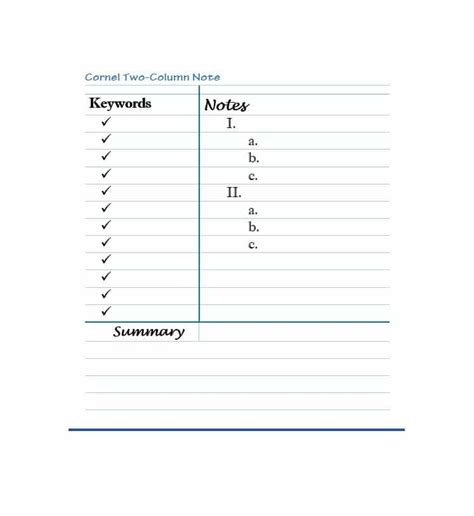 36 Cornell Notes Templates Exles Word Pdf Template Lab Jot Labels Template