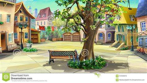 Drawing Of A House With Garage courtyard in the city front view stock illustration