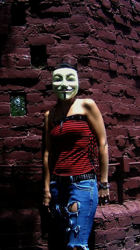 Hot Chick With Guy Fawkes Masks May