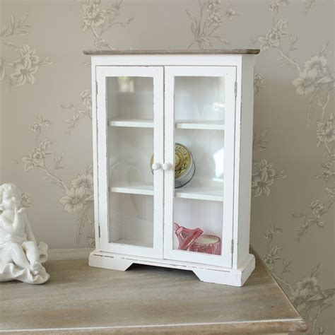 White Wooden Glazed Display Cabinet   Melody Maison®
