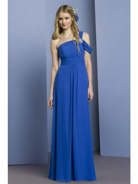 Royal Blue Bridesmaid Dress by Royal Blue One Shoulder Length Chiffon Bridesmaid