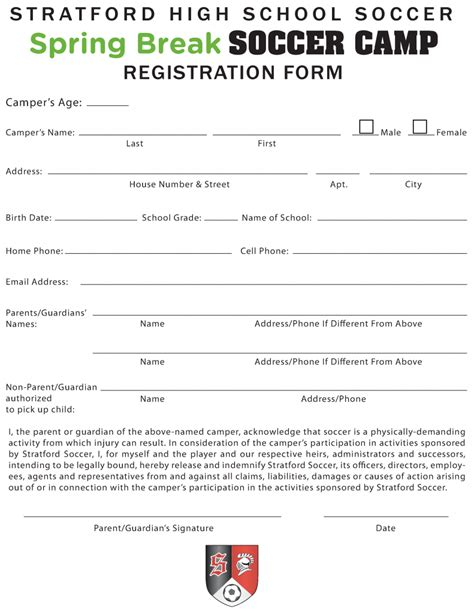 soccer registration form template soccer registration form template stratford team home