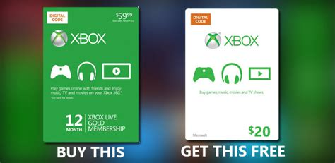 Xbox Live 12 Month Gift Card - deal alert buy an xbox live gold 12 month membership and get a 20 xbox live gift