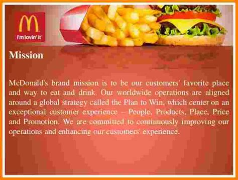 mcdonald s mission and vision statements student s name