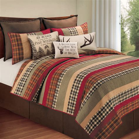 Bedroom Quilts | hillside haven rustic plaid quilt bedding