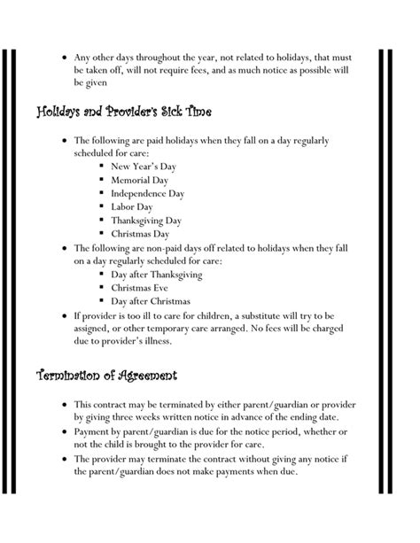 Home Daycare Contracts Pinteres Preschool Staff Contract Templates
