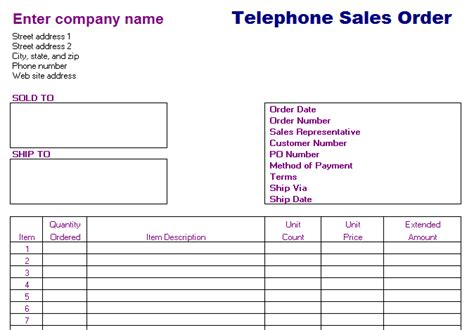 telephone sales order form blue layouts