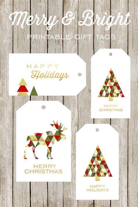 simple printable christmas gift tags merry and bright printable gift tags