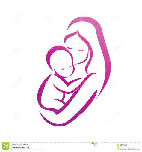 mother and her baby silhouette stock vector image 40775306