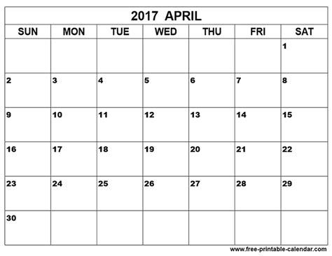free april 2017 calendar blank calendar
