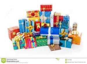photo presents stack of colorful christmas presents royalty free stock
