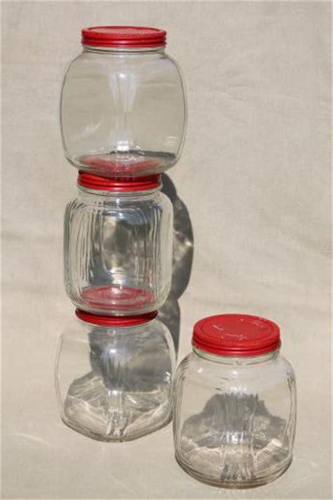 Kate S Kitchen Glass Jars Hoosier Vintage Glass Jars W Painted Metal Lids