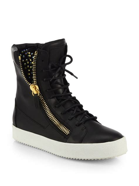 hightop shoes for lyst giuseppe zanotti studded leather high top sneakers
