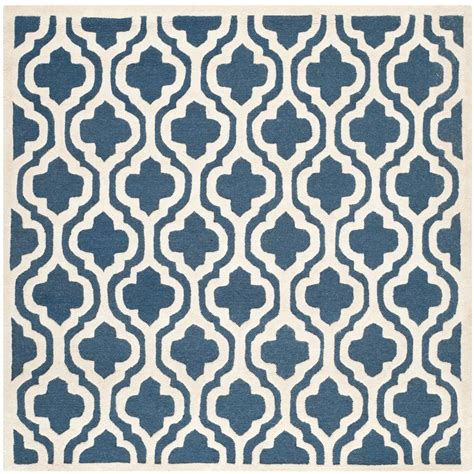 square area rugs 10 x 10 safavieh cambridge navy ivory 10 ft x 10 ft square area rug cam132g 10sq the home depot