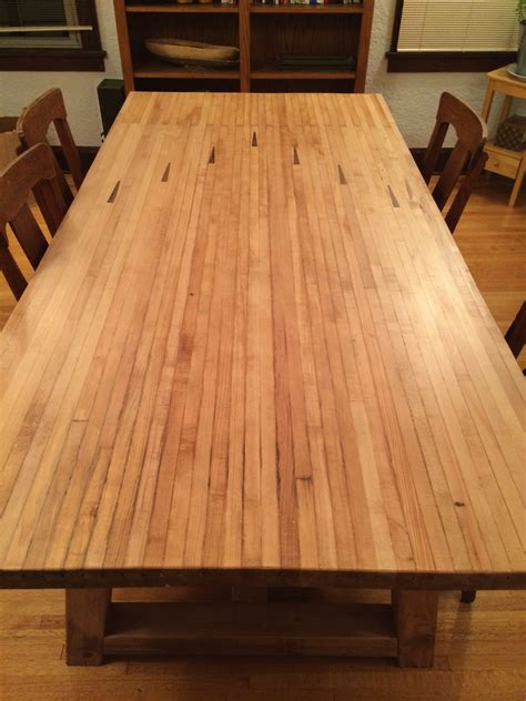ana white farmhouse table  bowling alley top diy