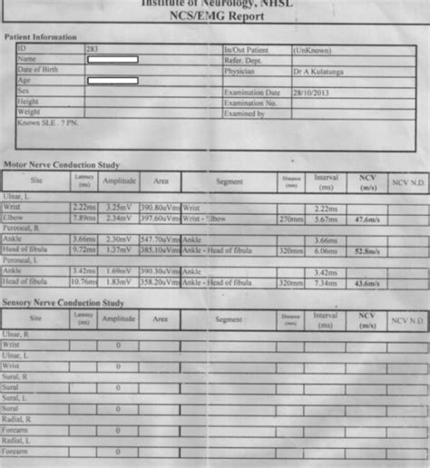 emg report sle patient summary report of preliminary nerve conduction