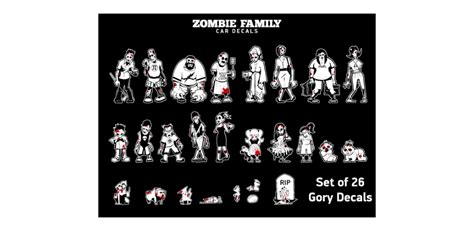 Car Sticker Zombie by Zombie Family Car And Vehicle Decals Zombiegift