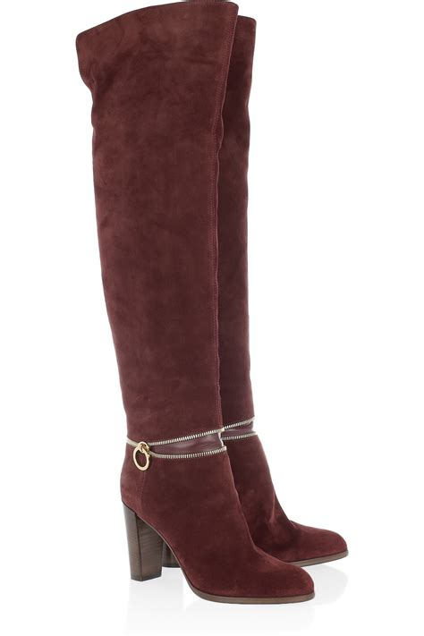 sergio zipdetailed suede and leather knee boots in