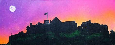 spray painting edinburgh paintings prints of edinburgh castle pink dusk