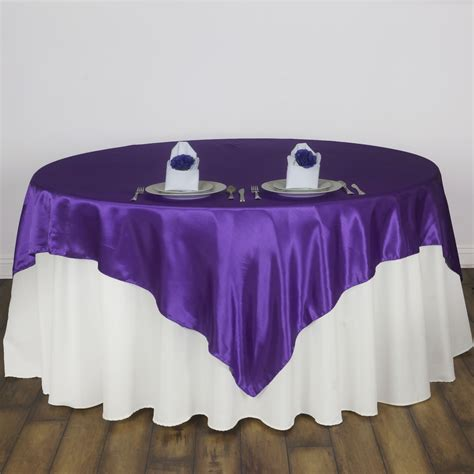 15 pack 60 quot square satin table overlays toppers wedding
