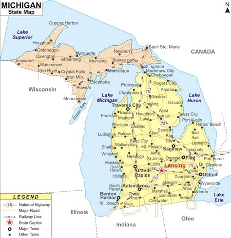 maps of michigan cities michigan map with all cities images