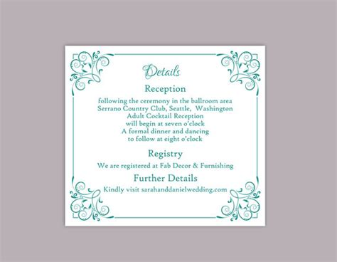 enclosure card template microsoft word diy wedding details card template editable text word file