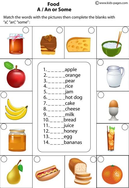 healthy food worksheets for kindergarten health and