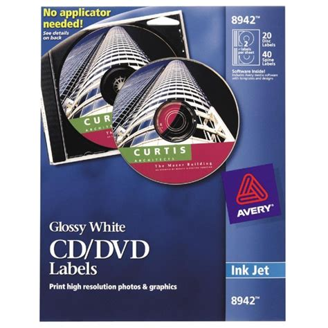 Avery Inkjet Cd Dvd Labels Glossy White 20 Pack Quickship Com Avery 8942 Template Word