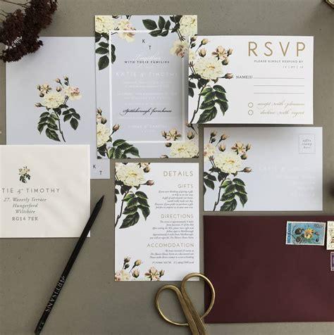 sweet pea wedding invites grey botanical wedding invitation set by sweet pea