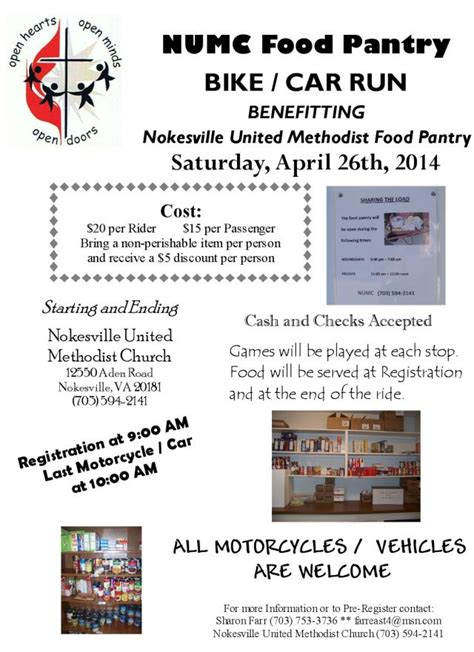 Food Pantry Flyer by Nokesville Umc Food Pantry Bike Car Run Fauquier Now