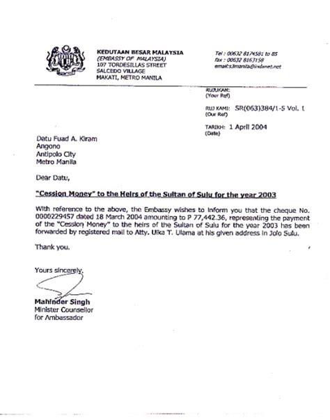 Guarantee Letter Kakitangan Awam Dokumen Bayaran Pajakan Sabah Kepada Kesultanan Sulu Oleh Kerajaan Malaysia 2000 Nations