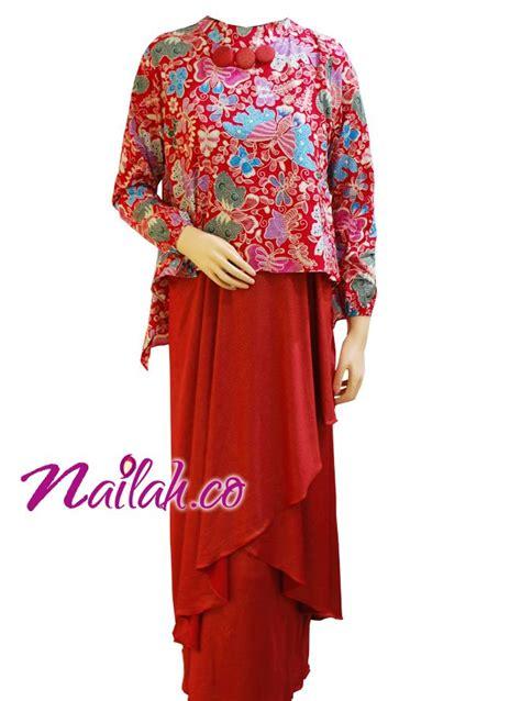 Gamis Pesta Cantik baju muslim cantik gamis pesta batik merah busana