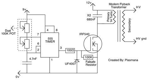 transistor flyback driver circuit forums high voltage mosfet problem with 555 timer flyback driver 4hv org