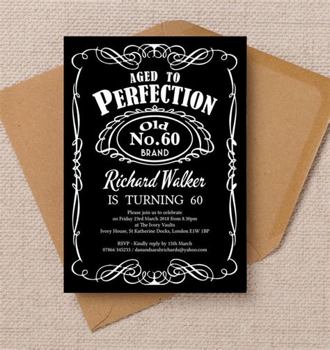 60s theme party guide party ideas home evite whiskey label themed 60th birthday party invitation from 163