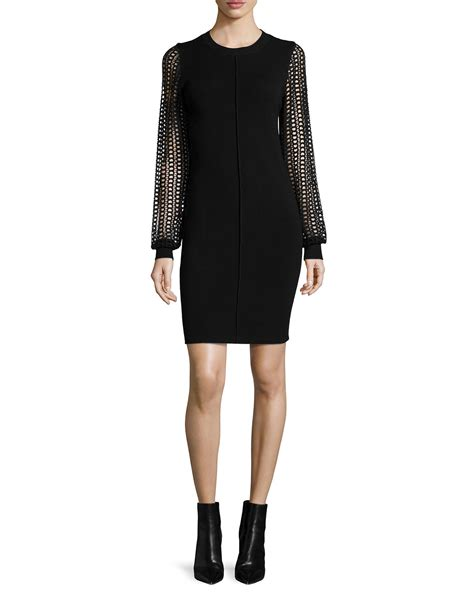 black knit dresses see by chlo 233 knit dress with lace sleeves in black lyst