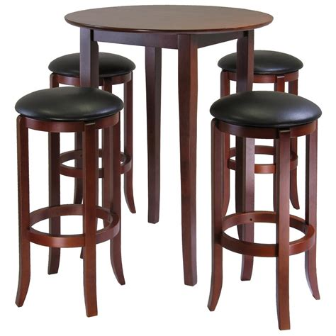 bar top tables and chairs winsome 174 fiona 5 pc square pub table set 196926