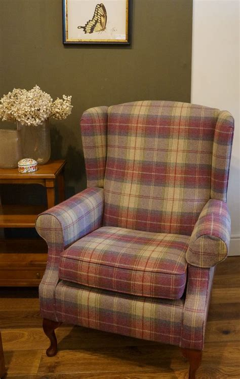 Cheap Wingback Chairs Design Ideas Blenheim Wing Back Chair In Sanderson Highlands Plaid Wesleybarrell Home Decor