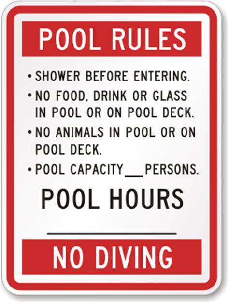food hours on pool pool hours no diving sign sku k 4005