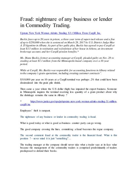 how to start a commodity trading business fraud nightmare of any business or lender in commodity trading