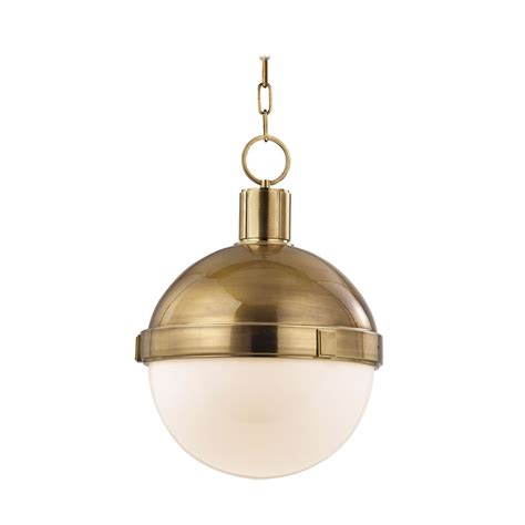 Brass Pendant Lighting Pendant Light With White Glass In Aged Brass Finish 615 Agb Destination Lighting