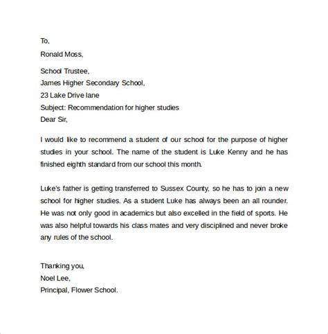 Reference Letter From College For Higher Studies Sle Recommendation Letter Formats 15 Documents In Word Pdf