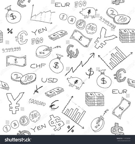 how to create money in doodle seamless pattern with money business and financial icon