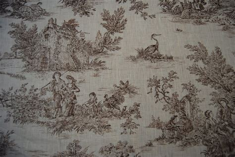 Toile Upholstery Fabric by Toile Classic Harvest Toile Brown And Linen Fabric